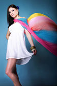 Pretty summer woman with flying shawl — Foto de Stock