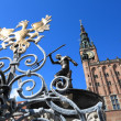Neptune Fountain and city hall in Gdansk, Poland - Stockfoto