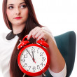 Woman with red clock. Time management concept. — Stock Photo #24631219