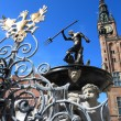 Neptune Fountain and city hall in Gdansk, Poland — Foto de Stock