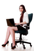 Business woman working on computer isolated — Stock Photo