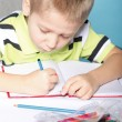 Young cute boy draws with color pencils — Stock Photo #25041909