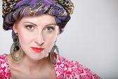 Portrait beautiful girl woman in a turban — Stock Photo