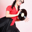 Stock Photo: Phonography analogue record Girl pin-up retro