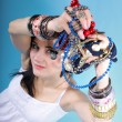 Summer girl plenty of jewellery beads in hands — Foto Stock