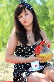 ピクニック。毛布の上に座っている美しい女性 — ストック写真