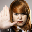 Young woman making stop gesture sign — Stock Photo