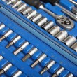 Stock Photo: Closeup toolkit set tools in blue box