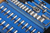 Closeup toolkit set tools in blue box — Stock Photo