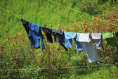 Clothes hanging to dry on a laundry line — Stock Photo