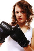 Fit woman boxing - isolated over white — Stock Photo