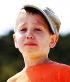 Little boy crying outdoor — Stock Photo