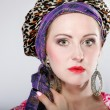 Portrait beautiful girl woman in a turban — Stock Photo