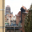 Old town of Gdansk and the Crane — Stock Photo