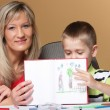 Mother and son drawing together — Stock Photo
