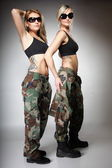 Two women in military clothes, army girls — Stockfoto
