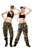 Two women in military clothes, army girls — Stock Photo