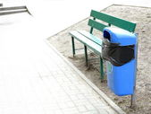 Blue pastic garbage bin or can on street — Stock Photo
