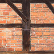 Background of beams and bricks exterior building — Foto de Stock