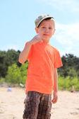 Mały chłopiec płacze odkryty — Zdjęcie stockowe