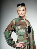 Woman in military clothes, army girl — Stock Photo
