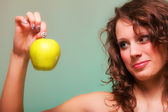 Beautiful spring woman with apple. Green concept — Stock Photo