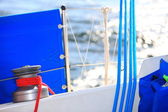 Winch with rope on sailing boat rigging — Stock Photo