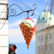Big plastic ice cream sign — Stock Photo