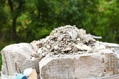 Full construction waste debris rubble bags — Stock Photo