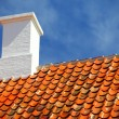 Old tiles red roof with himney sky background — Stock Photo