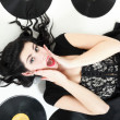 Stock Photo: Sexy girl with phonography analogue record
