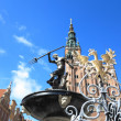 Neptune Fountain and city hall in Gdansk, Poland — Stockfoto