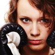 Stock Photo: Fit woman boxing - isolated over white
