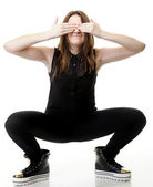 Scared.Young Woman covering her eyes. — Stock Photo