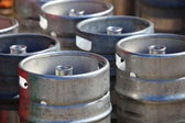 Lots of metal barrels at a beer factory — Stock Photo
