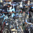 Bicycles on the city street blurred background — Stock Photo