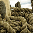Stock Photo: Yachting. Parts of yacht. Nautical ship rope.