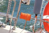 Yachting. Parts of yacht. Detail of a sailing boat — Stock Photo