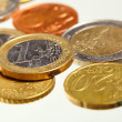 European currency euro coins money on white — Stock Photo