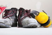 Construction equipment work boots noise muffs — Stock Photo