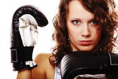 Fit woman boxing - isolated over white — Stockfoto