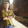 Young handsome man on street, old town Gdansk — Stock Photo