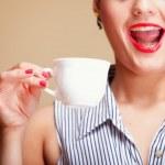 Beautiful Girl Drinking Tea or Coffee. — Stock Photo #32038477