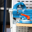 Blue new mechanical vice tool grip vise clamp — Zdjęcie stockowe