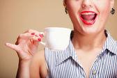 Beautiful Girl Drinking Tea or Coffee. — Stock Photo