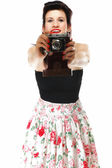 Pretty retro girl with vintage camera — Stock Photo