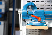 Blue new mechanical vice tool grip vise clamp — Stock Photo
