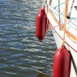 Yachting. parts of yacht maritime red fenders — Foto Stock
