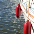 Yachting. parts of yacht maritime red fenders — Stock fotografie