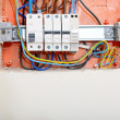 Electrical panel box with fuses and contactors — Stock Photo
